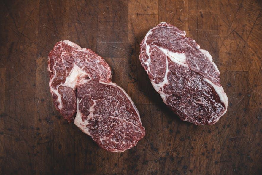 Grilled beef rib eye steak at Burro in Reykjavík