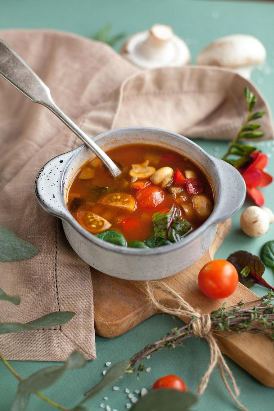 Vegan soups are great at Gardurinn.