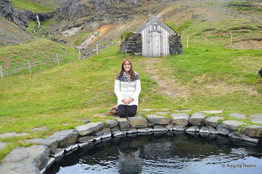 Regína at Guðrúnarlaug in Sælingsdalur
