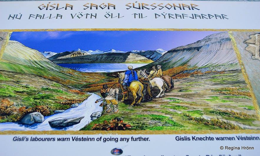 The Saga sign on Gemlufellsheiði heath - looking in the direction of Dýrafjörður and Mt. Sandafell