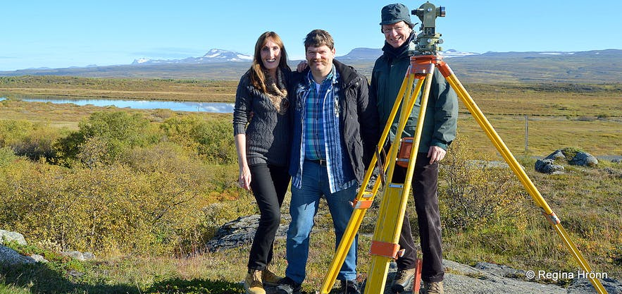 With my husband and father in law measuring for view-dials in East-Iceland