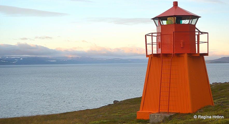 Arnarnesviti light-house at Arnarnes Skutulsfjörður Westfjords