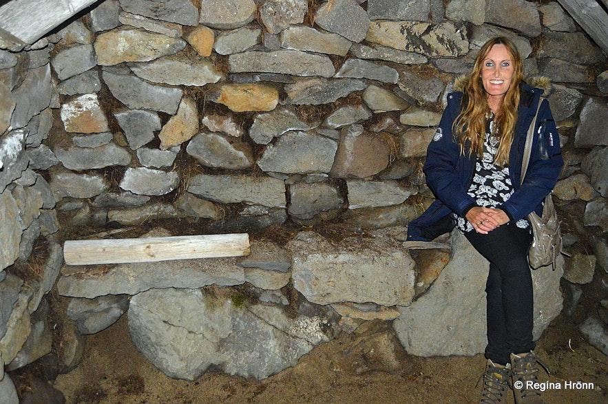 Inside the oldest turf outhouse in Iceland - Hesthúsið á Hólum in Kollsvík