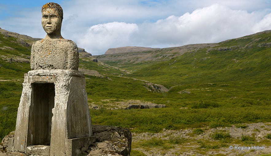 The stone man by the river Penna in the Westfjords