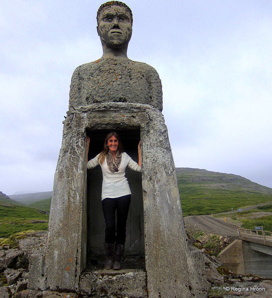 Regína inside The stone man by the river Penna in the Westfjords