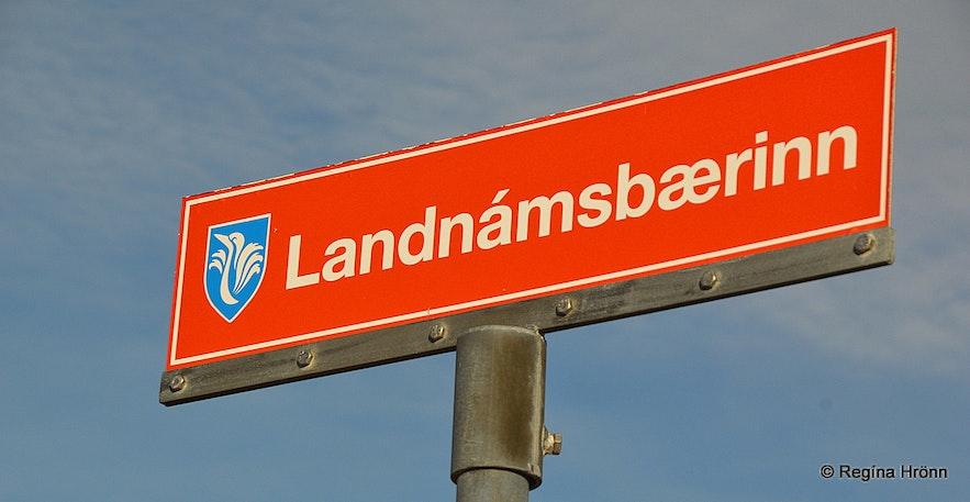 The sign for Landnámsbærinn - the Settlement farm at Hafir