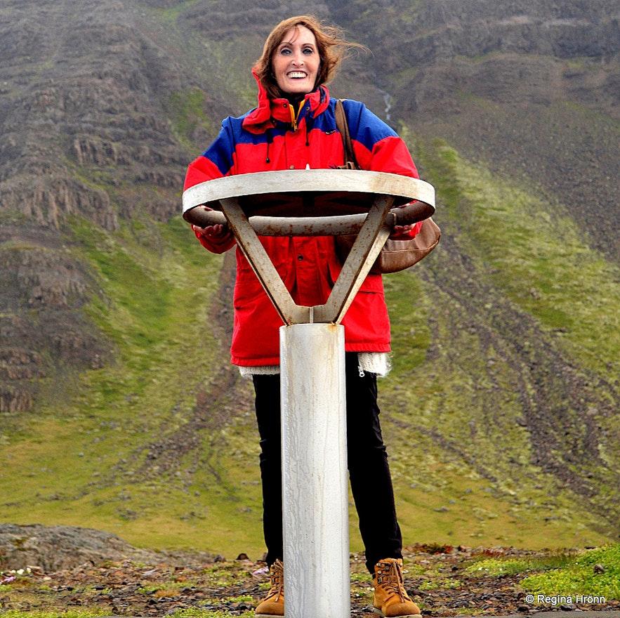 Regína by the view-dial at Fellsströnd West-Iceland