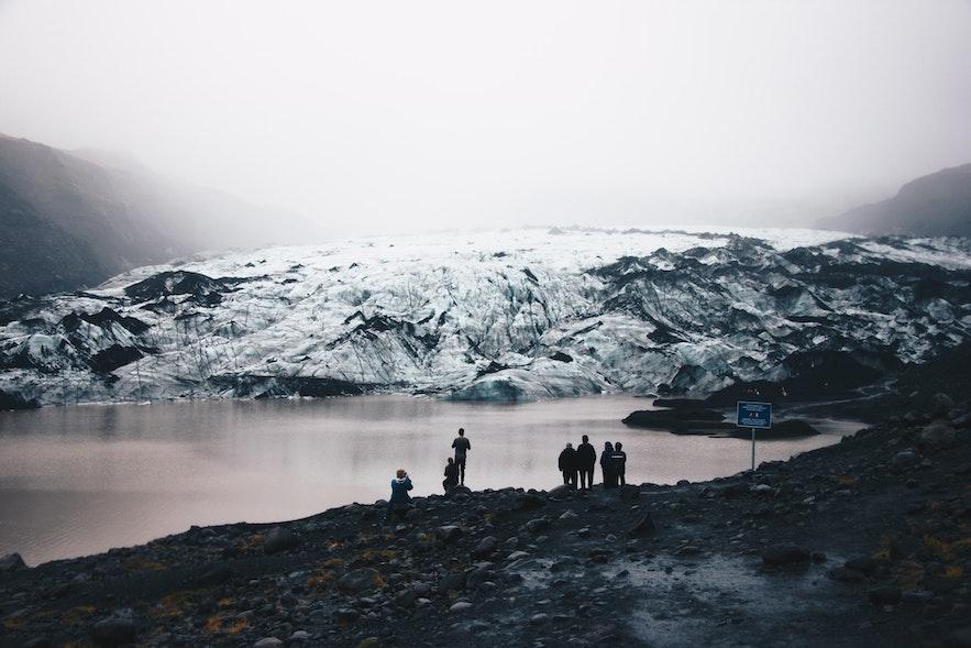 Myrdalsjokull on a misty day.