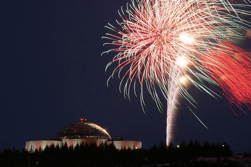 Fireworks burst over Perlan.