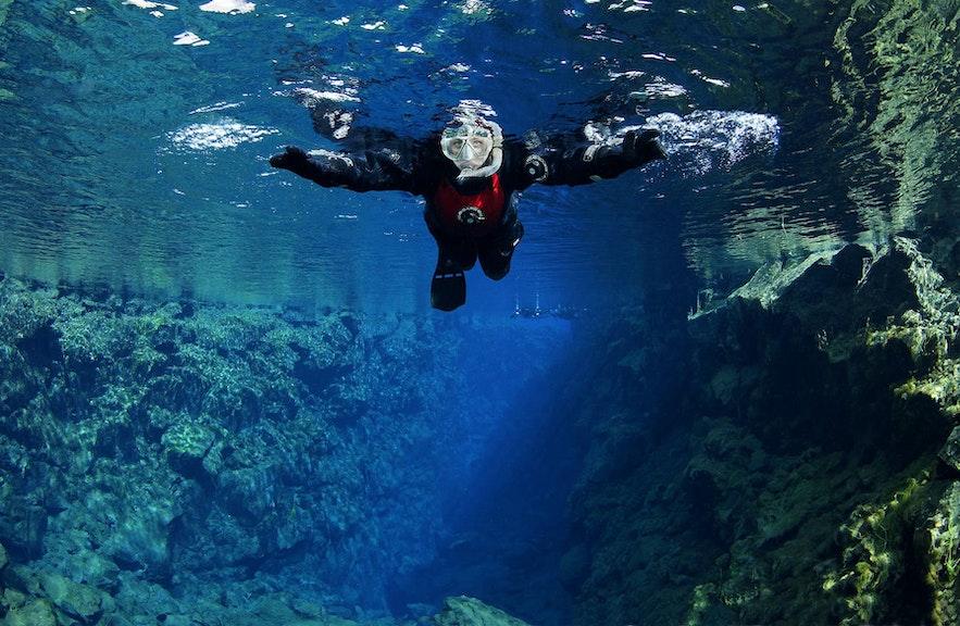 Snorkelling is popular in Silfra.