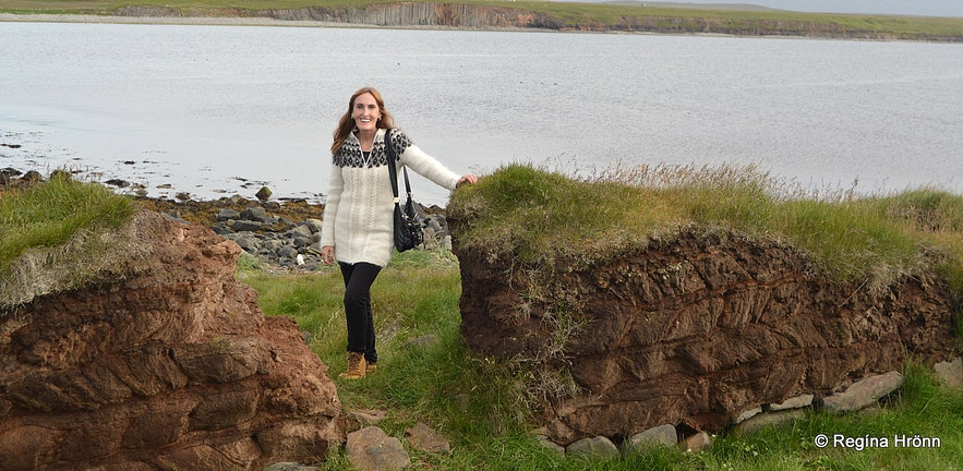 Regína by ruins at Kálfshamarsvík Skagi North-Iceland