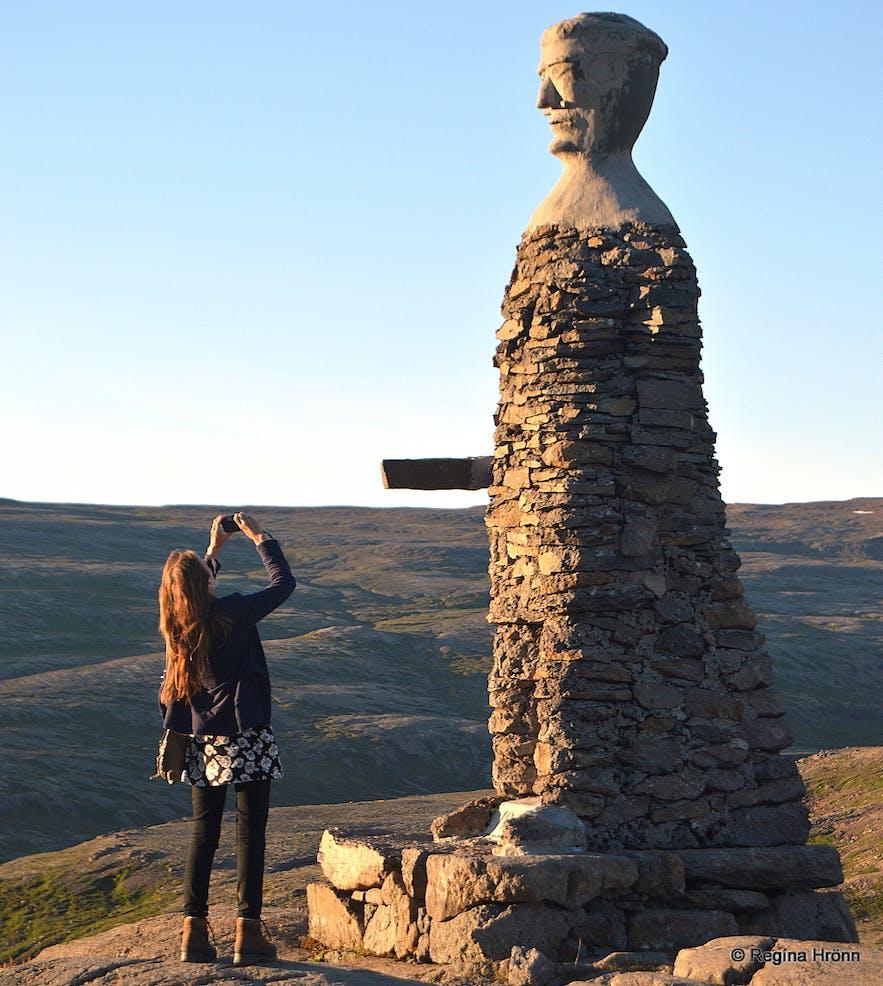 Regína by Kleifabúi stone man on Kleifaheiði heath Westfjords