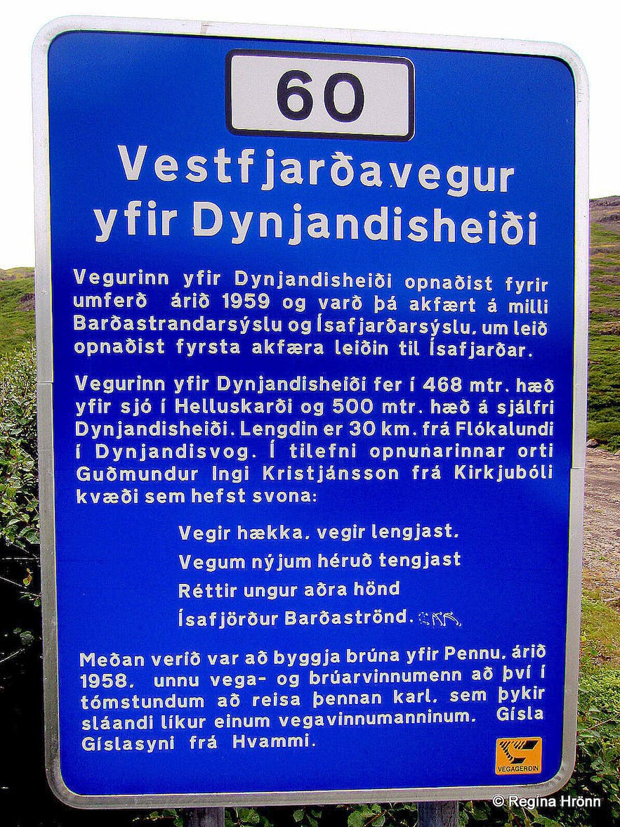 The sign by the stone man by Penna Westfjords