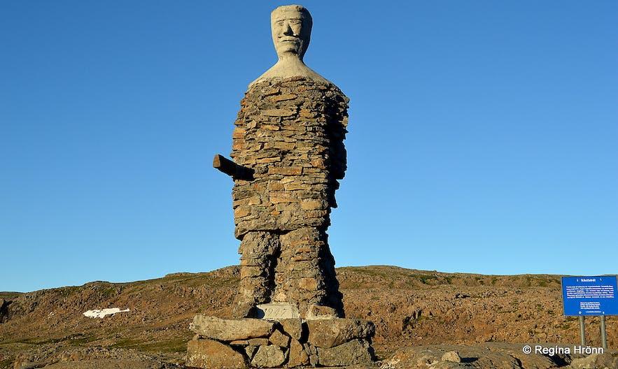 Kleifabúi stone man on Kleifaheiði heath in the Westfjords
