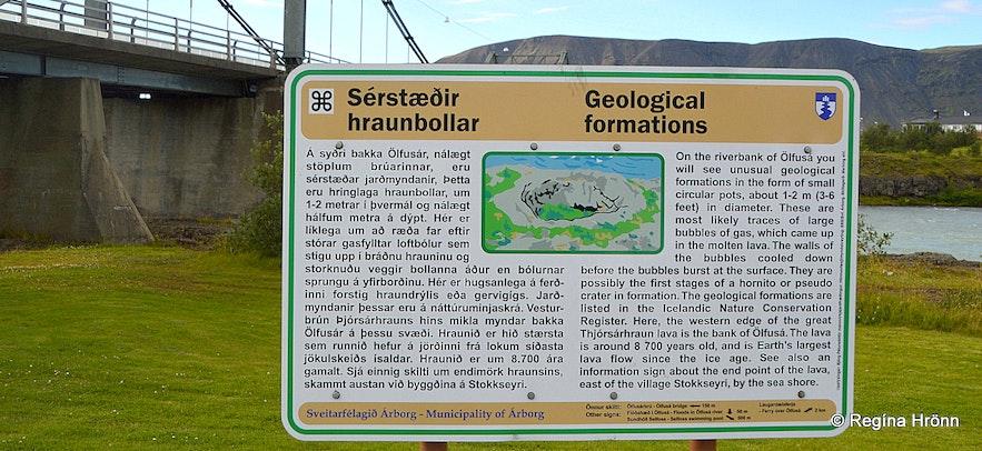 The information sign by the lava pots by Ölfusá river