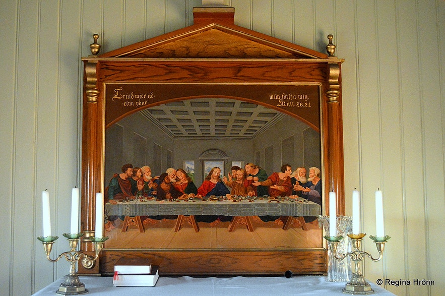 The altarpiece in Grímseyjarkirkja church N-Iceland
