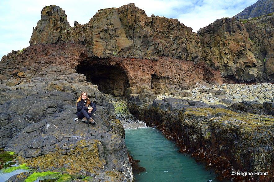 Regína at Kögurvík cove in the Westfjords