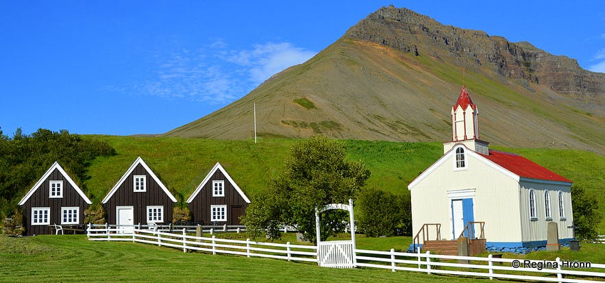 The turf house and church at Hrafnseyri - Westfjords