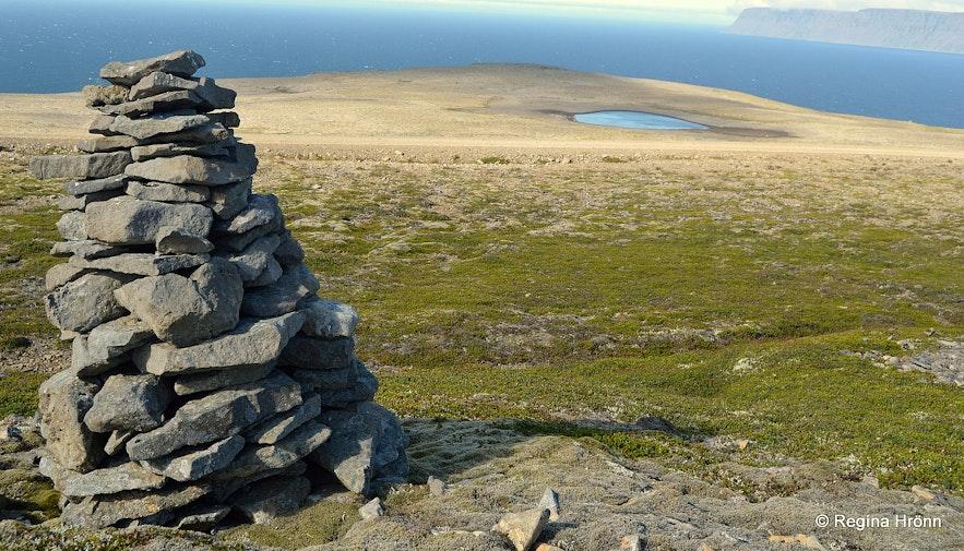 A cairn on top of Hænuvíkurhyrna mountain