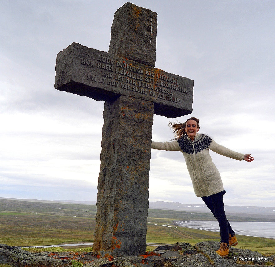 The memorial stone cross for Auður djúpúðga settler woman in West-Iceland