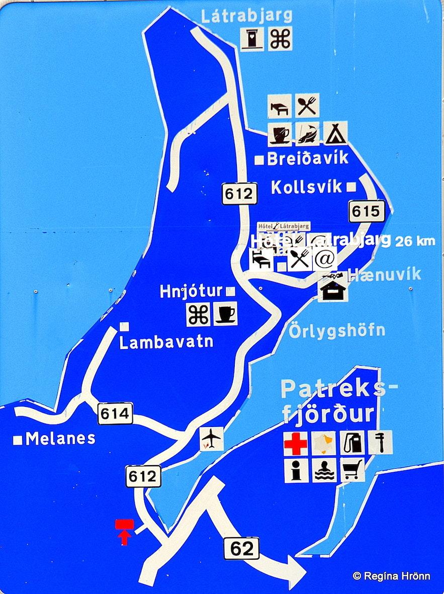 Látrabjarg and Breiðavík sign in the Westfjords of Iceland