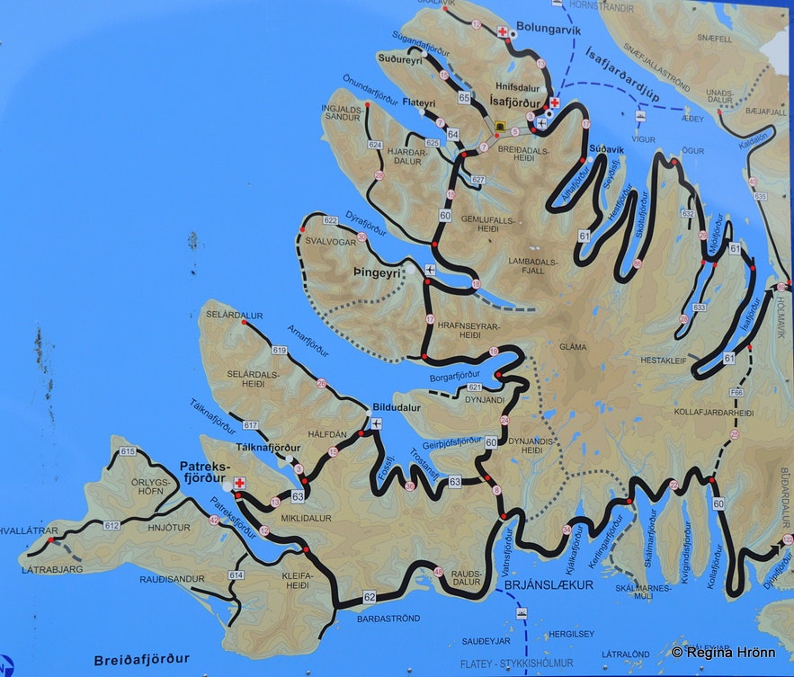 A map of the Westfjords