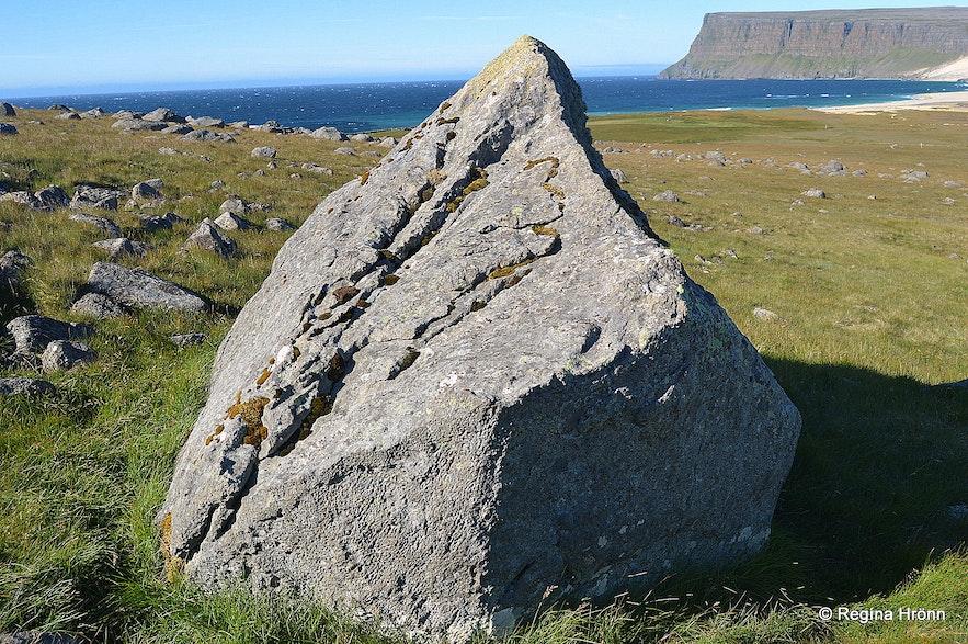 Strýtusteinn elf rock at Kollsvík Westfjords