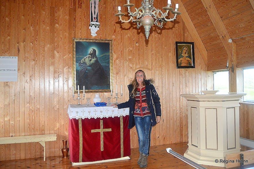 Regína inside Melgraseyrarkirkja church Westfjords