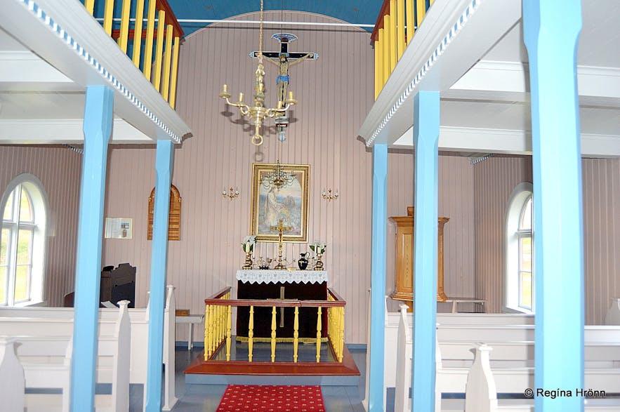 Inside Unaðsdalskirkja church in the Westfjords
