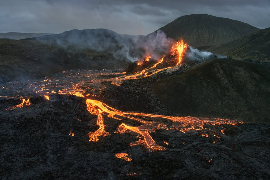 Fire bursts from a crater in the volcanic Geldingadalur area of Iceland.