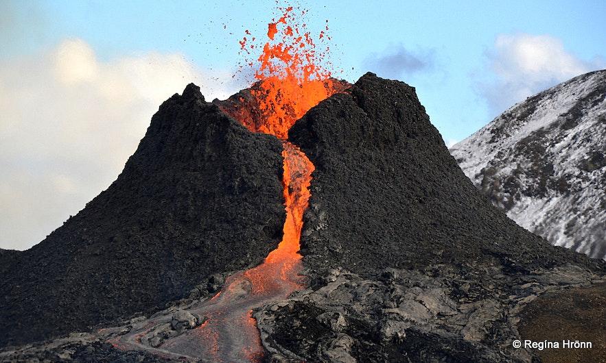 The volcanic eruption in Fagradalsfjall Reykjanesskagi peninsula