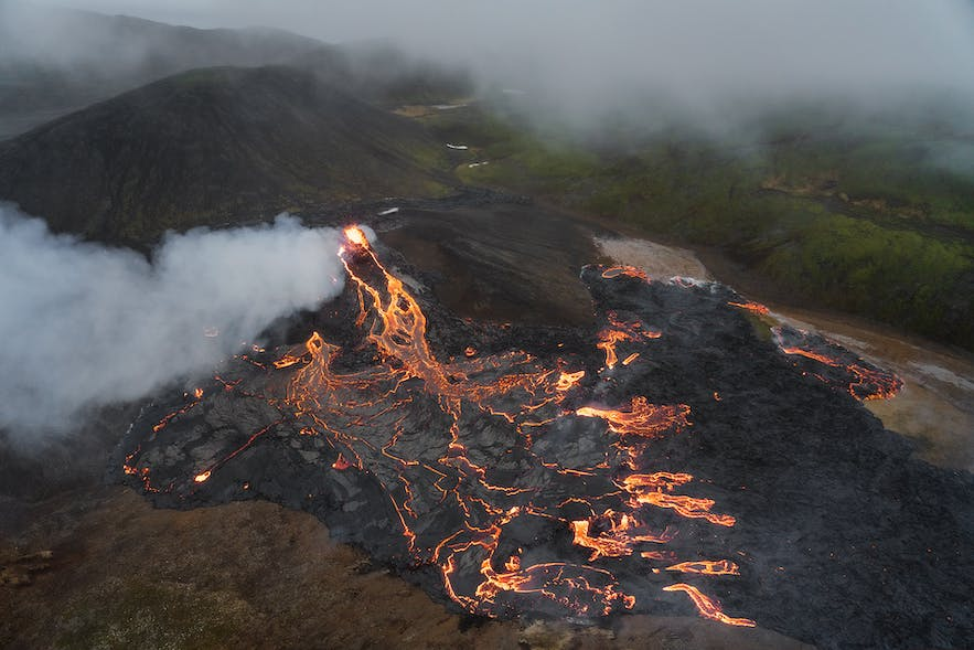 An overhead shot of the glowing lava field of Geldingadalur during its 2021 eruption.