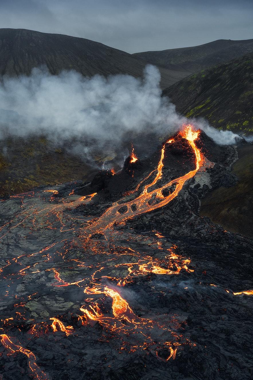 Fagradalsfjall's effusive eruption creates a gentle flow of lava.