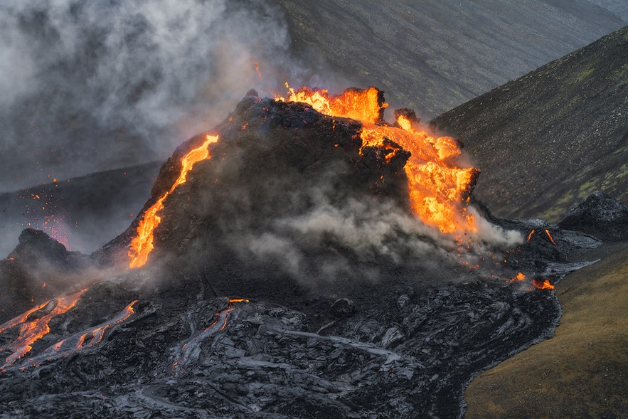 A surge of lava shatters the crater at Fagradalsfjall.