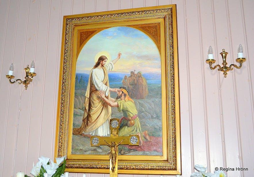 Unaðsdalskirkja altar piece Westfjords