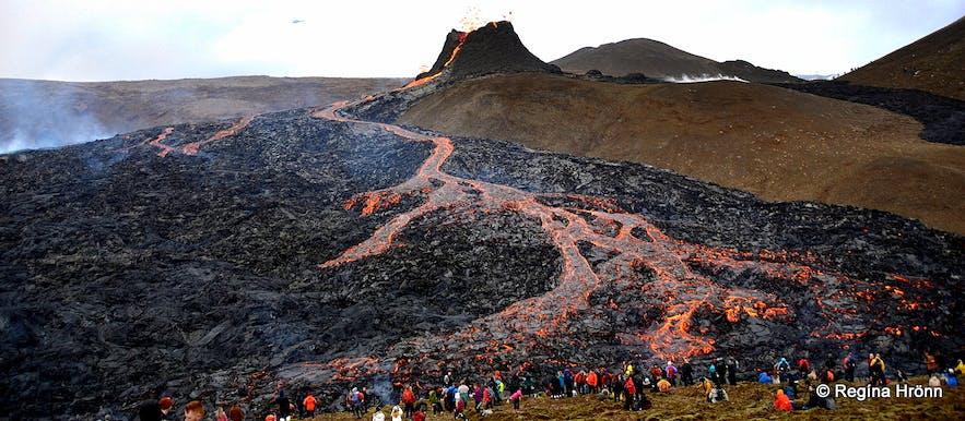 Volcanic eruption in Geldingadalir on the Reykjanes peninsula