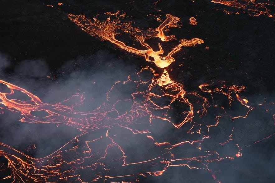Fagradalsfjall erupting on the Reykjanes Peninsula in 2021.