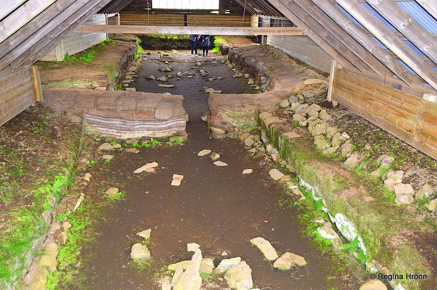 Inside Stöng archaeological Viking longhise