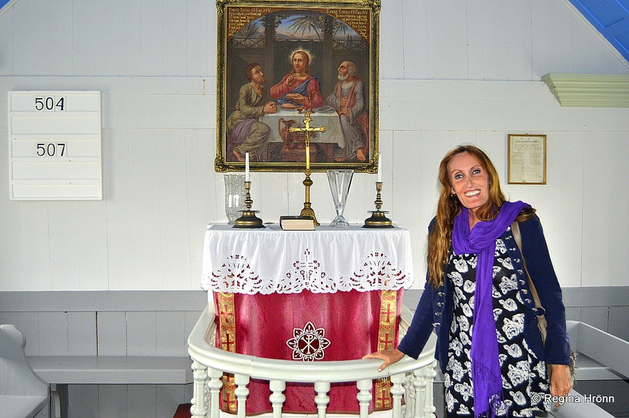 Regína inside Árneskirkja the older one at Trékyllisvík at Strandir