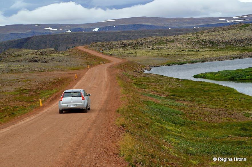 Driving on Dynjandisheiði heath through the Westfjords.