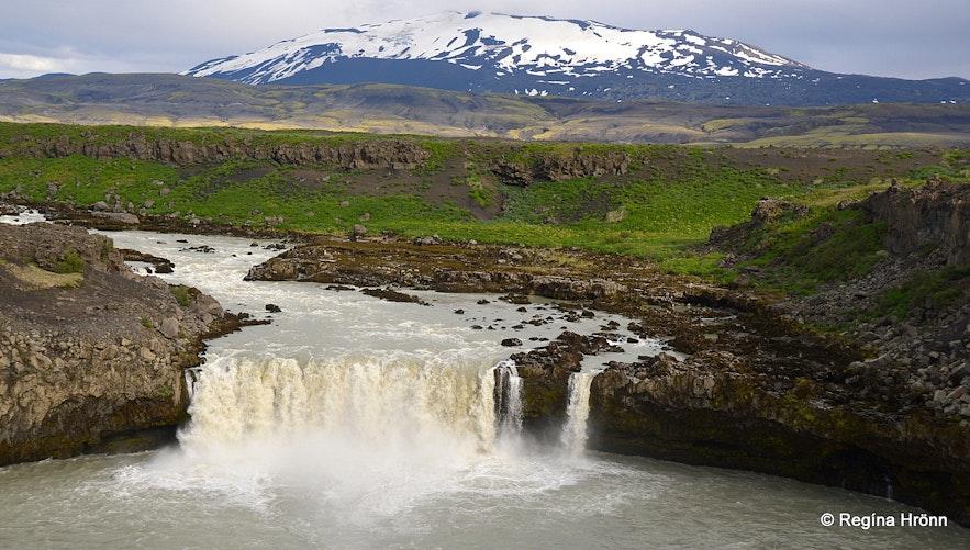 Mt. Hekla volcano and Þjófafoss waterfall