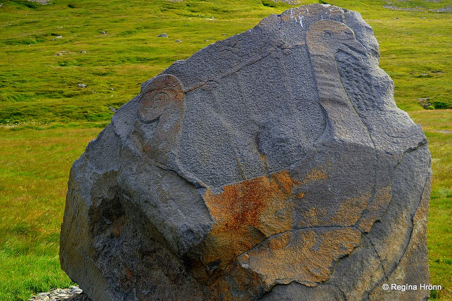 The memorial stone at Kaldalón Westfjords of Iceland