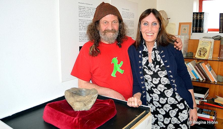 Regína with Sigurður Atlason by the ritual stone