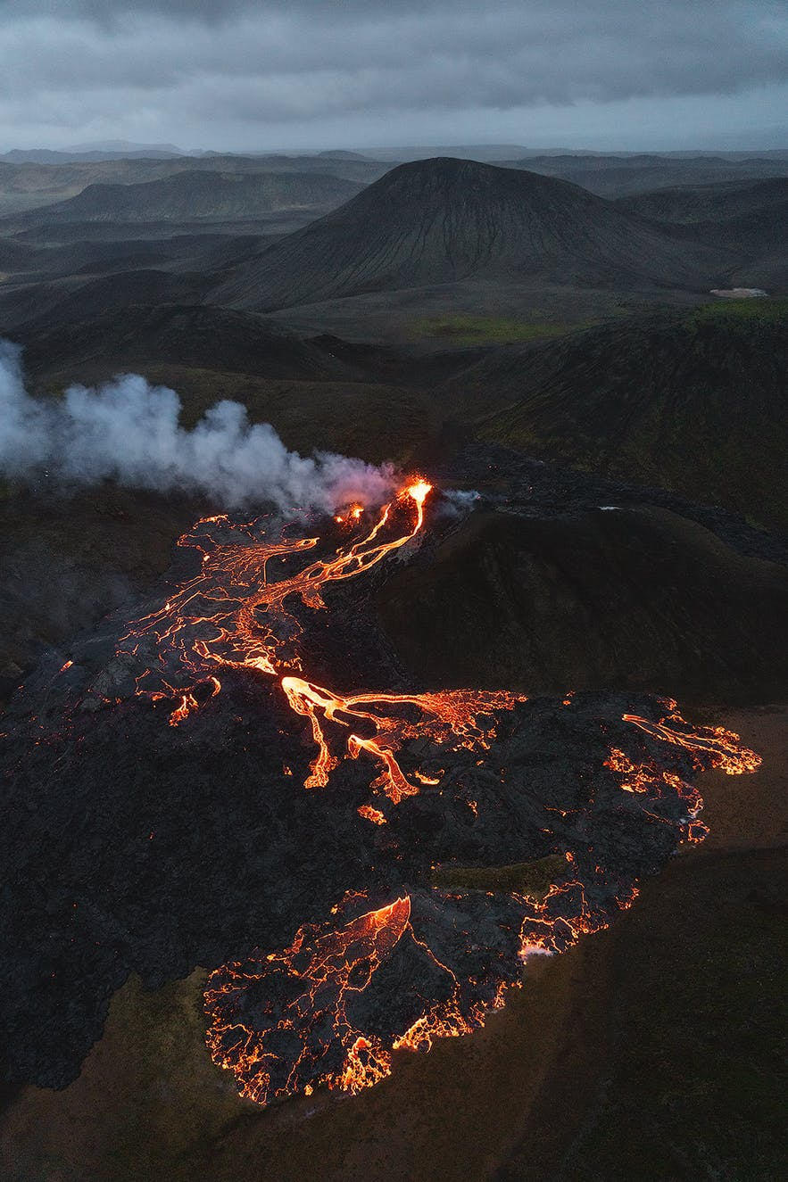 A shot showing how remote the eruption at Geldingadalur is.