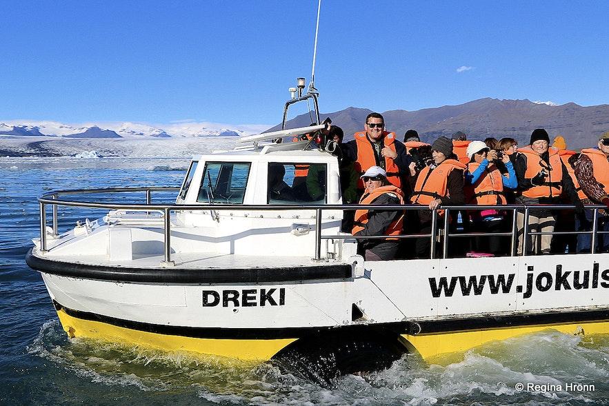 A boat tour on Jökulsárlón glacial lagoon