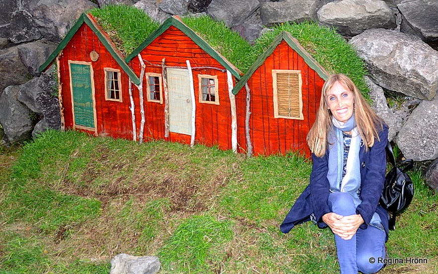 Regína by the elf-house in Húsavík North-Iceland