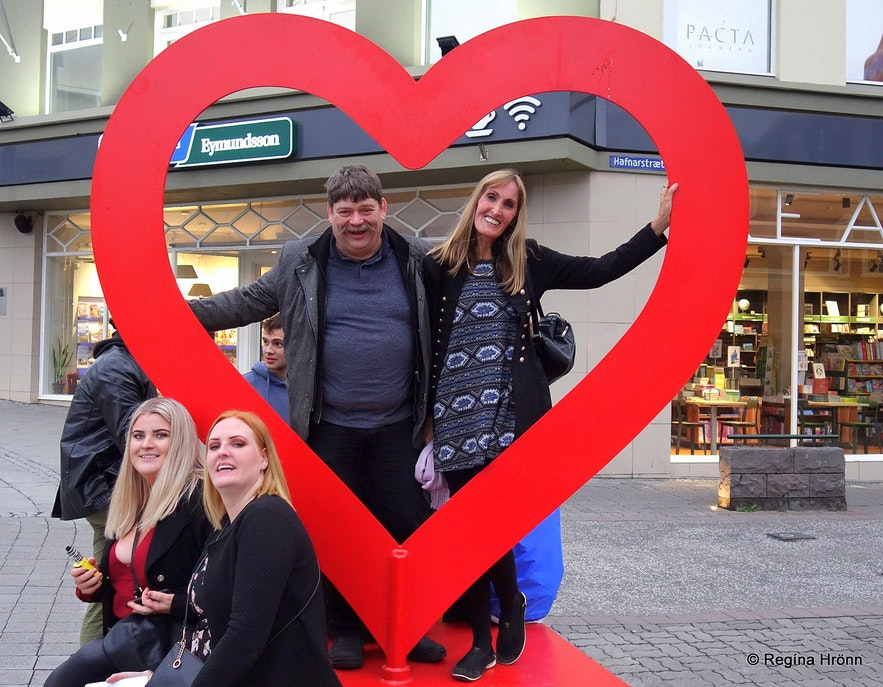 Regína and her husband in the Akureyri heart in North-Iceland