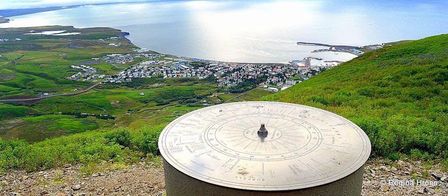 The view-dial on top of Mt. Húsavíkurfjall Húsavík