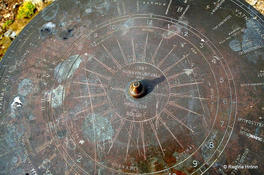 The view-dial on top of Mt. Húsavíkurfjall by Húsavík