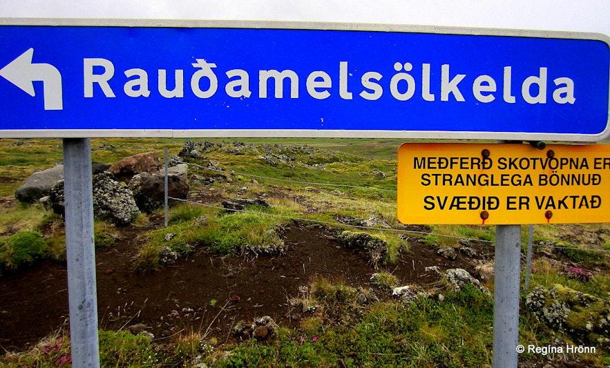 Sign by Rauðamelsölkelda Snæfellsnes